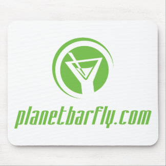 The official planetbarfly com logo in green mousepad
