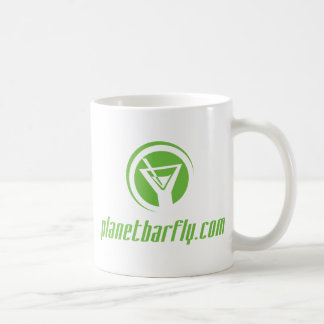 The official planetbarfly com logo in green mug