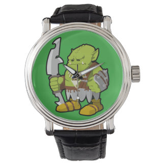 The ogre Vintage Leather Strap Watch