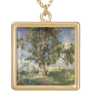 The Old Ash Tree (oil on canvas) Square Pendant Necklace