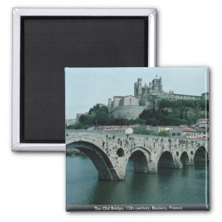 The Old Bridge, 13th century, Beziers, France Square Magnet