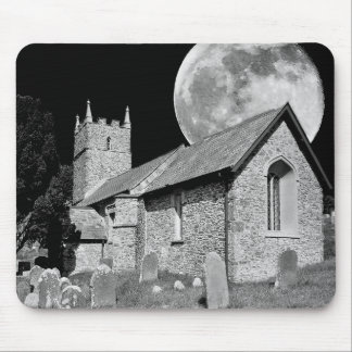 The old church and moon mouse pad