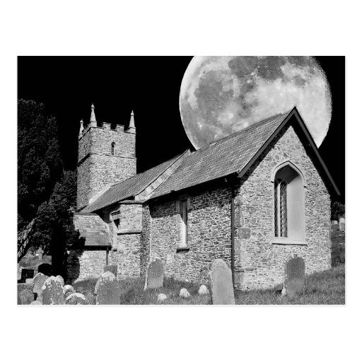 The old church and moon postcards