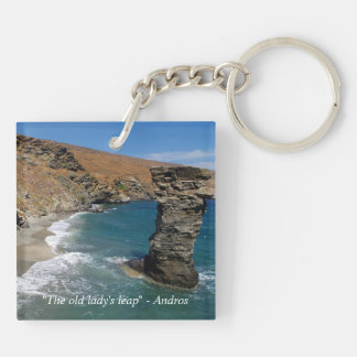 """""""The old lady's leap"""" - Andros Double-Sided Square Acrylic Key Ring"""