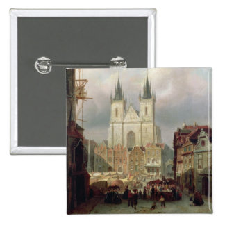 The Old Market Place at Prague, 1881 (oil on canva 15 Cm Square Badge
