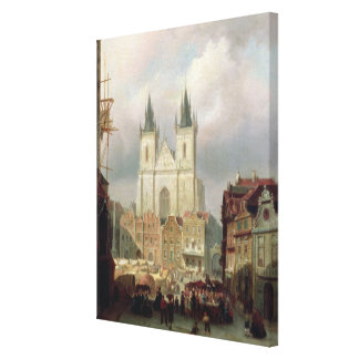 The Old Market Place at Prague, 1881 (oil on canva Canvas Print