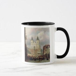 The Old Market Place at Prague, 1881 (oil on canva Mug