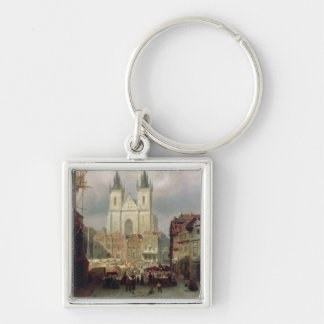 The Old Market Place at Prague, 1881 (oil on canva Silver-Colored Square Key Ring