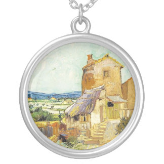 The Old Mill by Vincent Van Gogh Round Pendant Necklace