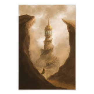 the old observation tower fantasy photo print