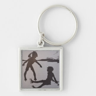 The Old Pond - Silhouette Silver-Colored Square Key Ring