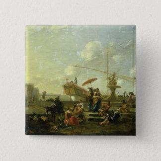 The Old Port of Genoa 15 Cm Square Badge