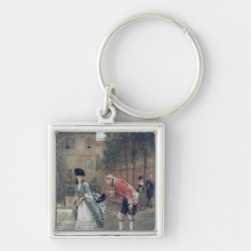 The Old Soldier, 1869 Silver-Colored Square Key Ring