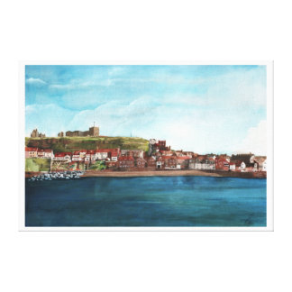 The Old Town Below Of East Cliff Whitby Harbour Canvas Print