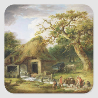 The Old Water Mill, 1790 (oil on canvas) Square Sticker