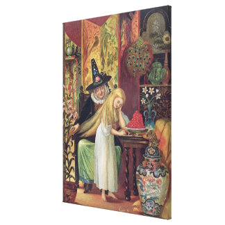The Old Witch combing Gerda's hair with a golden c Canvas Print