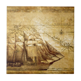 The Oldest World Map Ship Small Square Tile
