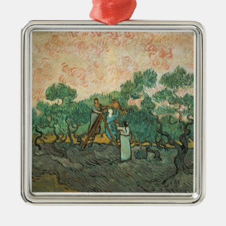 The Olive Pickers, Saint-Remy, 1889 (oil on canvas Silver-Colored Square Decoration