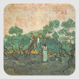 The Olive Pickers, Saint-Remy, 1889 (oil on canvas Square Sticker
