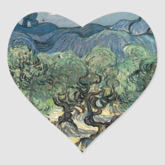 The Olive Trees, Vincent van Gogh Heart Sticker