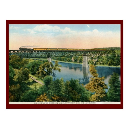 The Olympian Train, Short Line Bridge Vintage Postcard