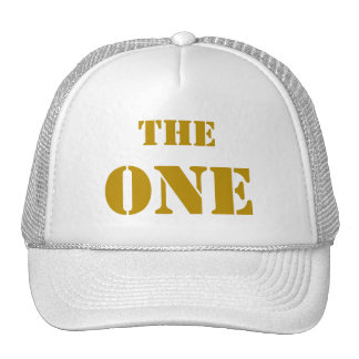 """THE ONE. The cap of the first """"one"""", in GOLD Hat"""