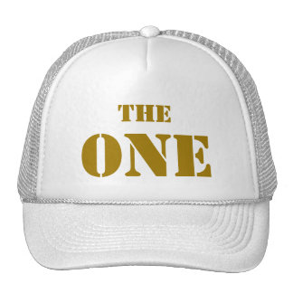 """THE ONE. The cap of the first """"one"""", in GOLD Hats"""