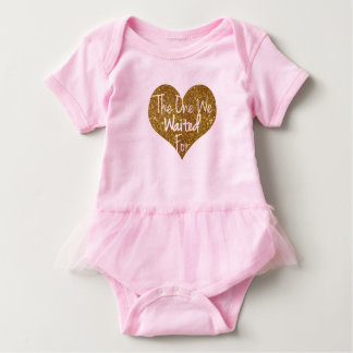 The One We Prayed For Glitter Heart Onsie Baby Bodysuit