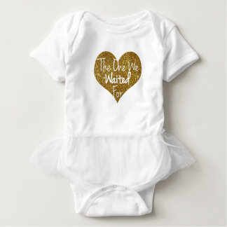 The One We Waited For Glitter Heart Onsie Baby Bodysuit