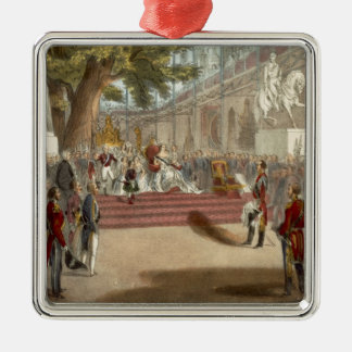 The Opening by Queen Victoria of the Industrial Pa Silver-Colored Square Decoration