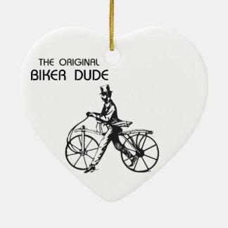The original biker chick & dude vintage bike, wow! ceramic heart decoration