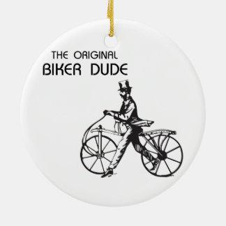 The original biker chick & dude vintage bike, wow! round ceramic decoration