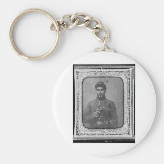 The Original Black American Soldier Basic Round Button Key Ring