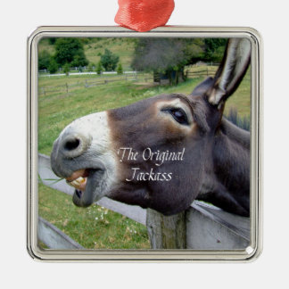 The Original Jackass Funny Donkey Mule Farm Animal Silver-Colored Square Decoration