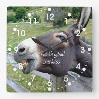 The Original Jackass Funny Donkey Mule Farm Animal Square Wall Clock
