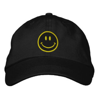 The Original Smiley Happy Face in Goth in Black Embroidered Baseball Cap