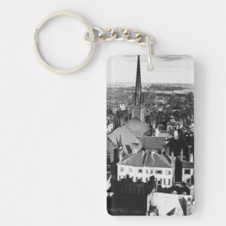 The ornamented spire of a church in Boston Key Ring
