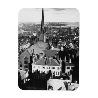 The ornamented spire of a church in Boston Rectangular Photo Magnet