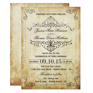 The Ornate Flourish Vintage Wedding Collection 13 Cm X 18 Cm Invitation Card