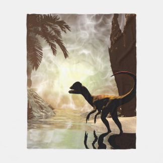 The other world, dinosaur at the river fleece blanket