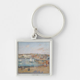 The Outer Harbour at Dieppe, 1902 Silver-Colored Square Key Ring