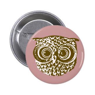 The owl 6 cm round badge