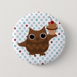 The Owl and the Cupcake 6 Cm Round Badge