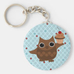 The Owl and the Cupcake Basic Round Button Key Ring