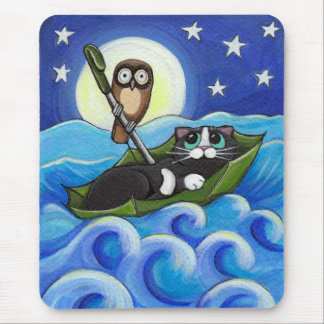 The Owl and the Pussycat | Whimsical Cat Art Mouse Mat