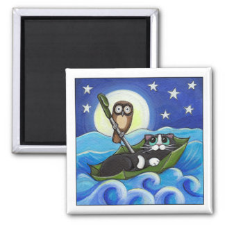 The Owl and the Pussycat | Whimsical Cat Art Square Magnet