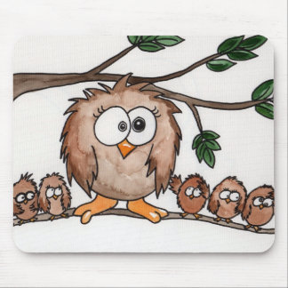 The Owl Family Mouse Mat