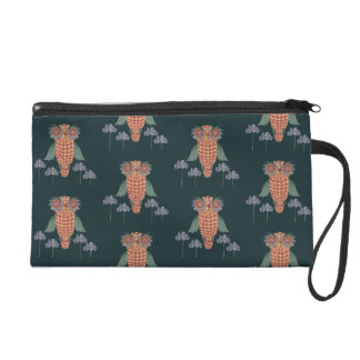 The Owl of wisdom and flowers Wristlet