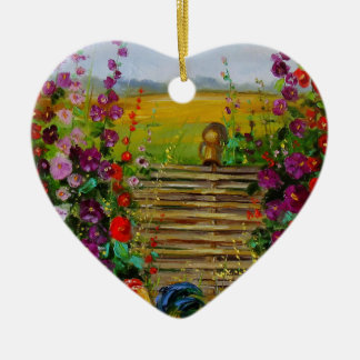 The owner of the farm ceramic heart decoration