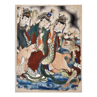 The Ox Figure of the Chinese Zodiac Wall Painting Photo